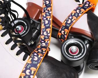 Orange Mushrooms Roller Skate Leash with D Rings - Adjustable -  Yoga Mat Strap - Skateboard Sling