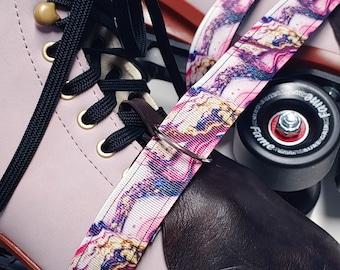 Pink Marbled Geode Print Roller Skate Leash with D Rings - Adjustable -  Yoga Mat Strap - Skateboard Sling