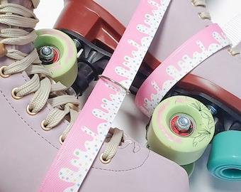 Pink & White Cake Icing Skate Leash with D Rings - Adjustable -  Yoga Mat Strap - Skateboard Sling