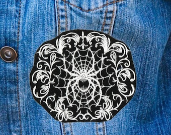 Spiderweb Filigree Gothic Black and White Iron On Embroidered Patch