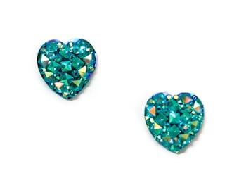 Aqua Rhinestone Faceted Heart Stud Earrings Hypoallergenic Post Earrings