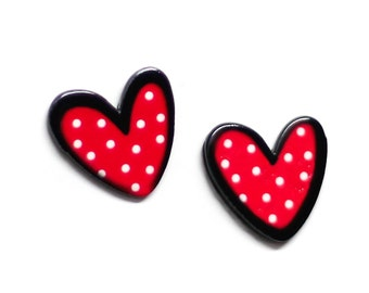 Polka Dotted Red Heart Hypoallergenic Post Earrings