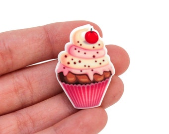 Neapolitan Cupcake with Cherry Brooch Pinback Button Valentine's Day Pin