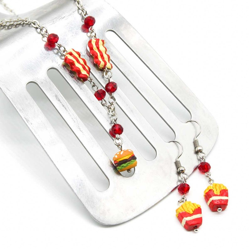 Double Bacon Cheeseburger Necklace and French Fry Earrings