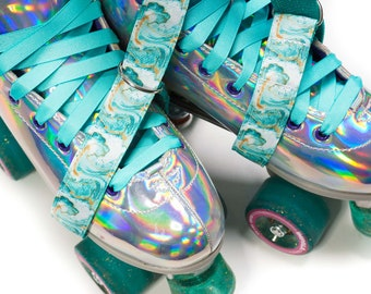 Mint and Gold Marble Roller Skate Leash with D Rings - Adjustable -  Yoga Mat Strap - Skateboard Sling