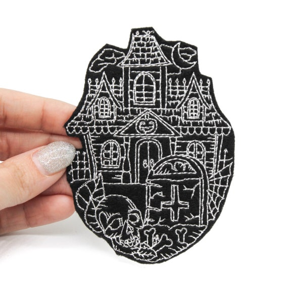 Gothic Crafts Halloween Embroidered Iron On Patch Haunted House