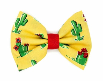 Yellow Southwest Cactus Fabric Hair Bow Clip