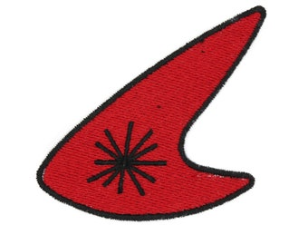 Red Retro Boomerang Iron On Embroidered Patch