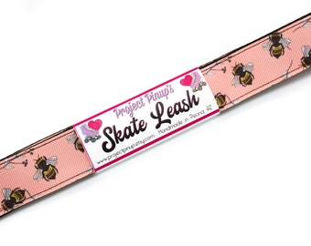 Honey Bees Peach and Black  Roller Skate Leash with D Rings - Adjustable - Yoga Mat Strap - Skateboard Sling