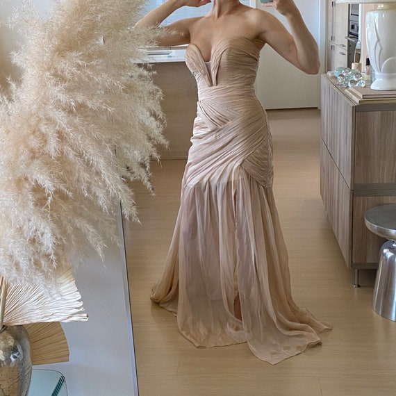Pleated Chiffon Gown ~ Silky taupe pleated dress s