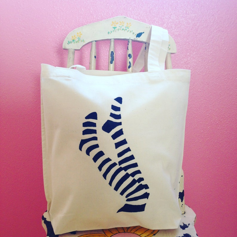 Take Off Your Shoes Tote Bag Black Hand Painted