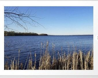 "Photo ""Incredi-blue"" lake view - Lake Mendota, Madison, WI, nature photography, home decor, living room, bedroom print, framed print canvas"