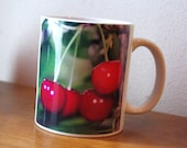Cherries 11 ounce ceramic mug. red fruit, summer, color photography, red, green, coffee mug, food photography, gourmet, cook, chef 1222