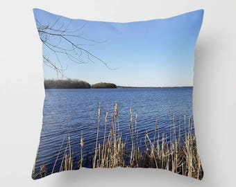 "Throw pillow cover OR pillow | ""Incredi-blue"" lake view - Lake Mendota, Madison, WI nature inspired living room decor Christmas gift for her"