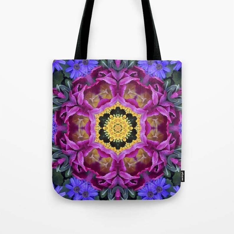 Garden Kaleidoscope At Olbrich >> Tote Bag Floral Finery Vivid Kaleidoscope Blue Violet Etsy
