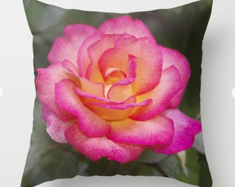 Rainbow Sorbet Rose floral throw pillow, pillow cover, nature inspired cushion cover, living room decor country home decor housewarming gift