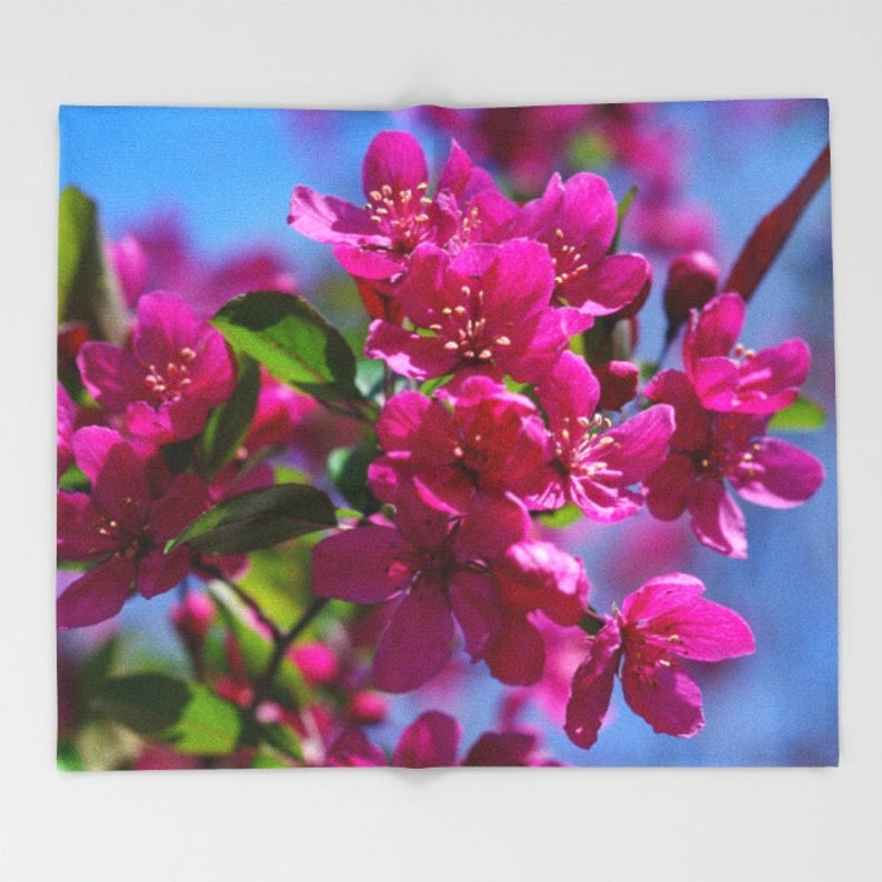mother/'s day gift pink blue floral design Spring Crabapple flowers throw blanket color photography Malus Prairifire home decor