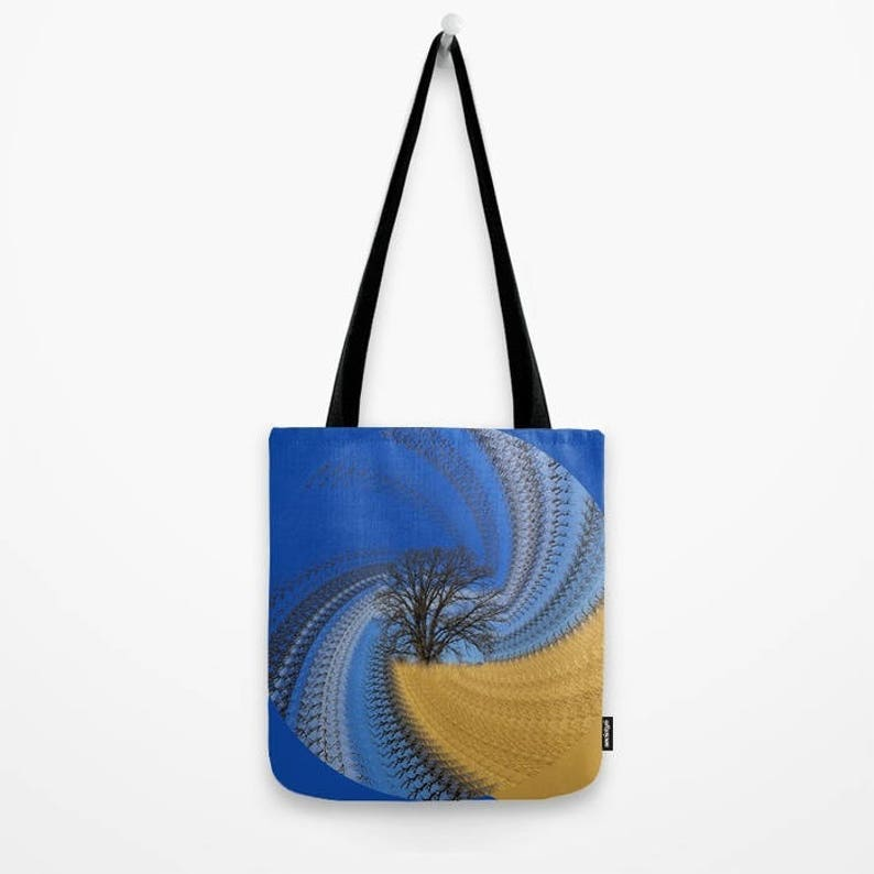 with a bit of an abstract twist oak and blue sky mother/'s day gift shopping bag Prairie Oak Swirl Tote bag photograph