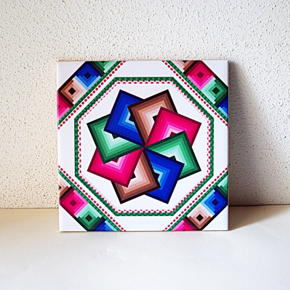 Spinning Star Quilt Ceramic Tile Trivet For Quilter Blue Red Green Brown Decorative Tile Wall Art