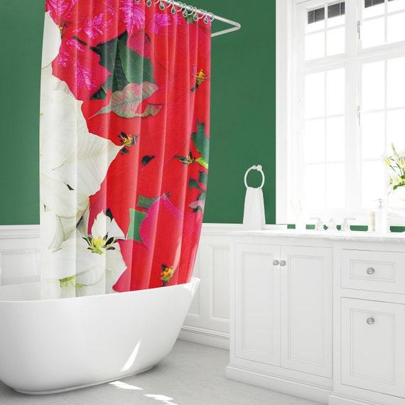 Poinsettia Shower Curtain Christmas Home Decor Bathroom Etsy