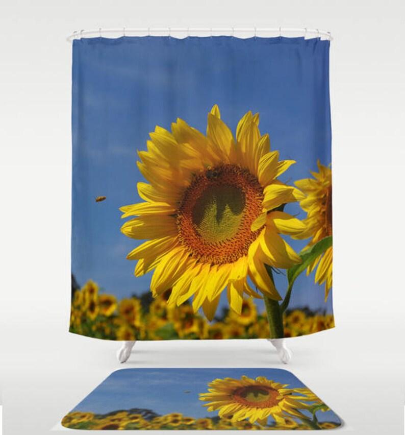 Sunflower shower curtain, bath mat