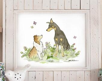 Sheltie Art Print, Doberman Print, Nursery Art, Dog Breed Art, Puppy Nursery Art, Shetland Sheepdog, Doberman Pinscher, Children's Art