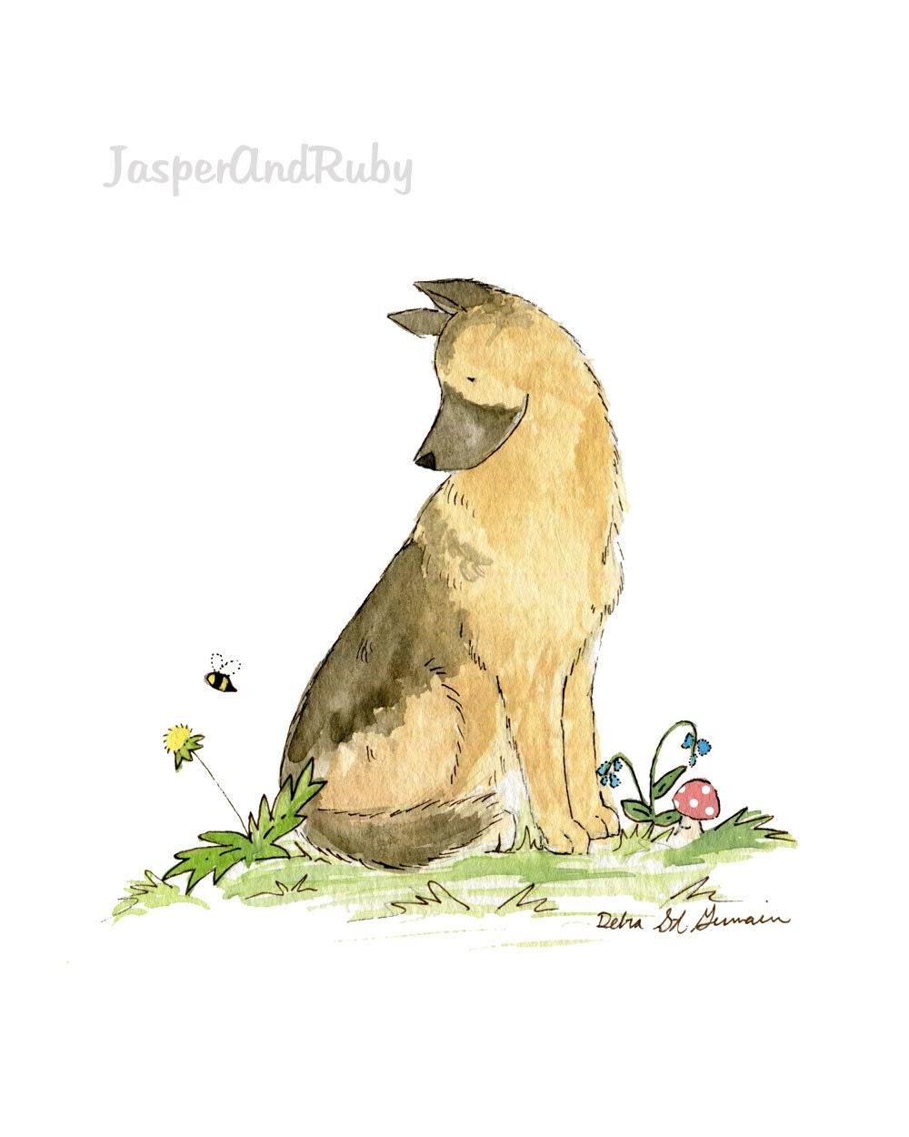 German Shepherd Art Puppy Nursery Art Nursery Print Nursery | Etsy