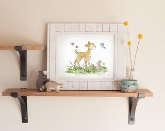Woodland Nursery Art- Forest Nursery Art- Fawn Children's Art- Woodland Art- Children's Wall Art- Forest Nursery Art- Nursery Print, Deer