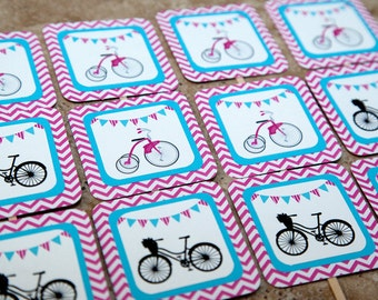 Bicycle cupcake toppers - Vintage Pink Chevron and turquoise (Quantity 12)