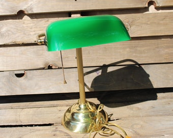 Vintage/Retro Bankers Green Shade Lamp/Desk Lamp/Office Lamp/Green Shade  Lamp