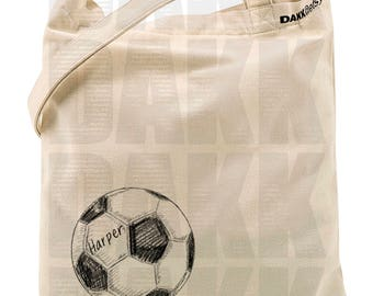 Hand Drawn Soccer Ball Cotton Canvas Tote/Market Bag With or Without Customized Name
