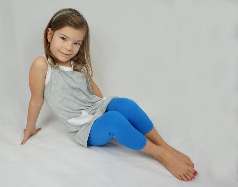 3adb07203a03f Girls bamboo capri leggings royal blue summer leggings | Etsy