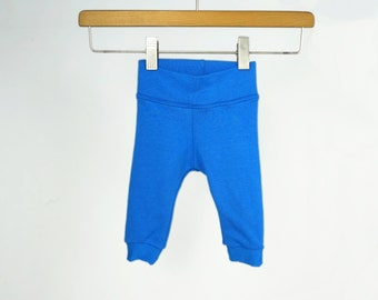Bamboo baby leggings, gender neutral baby clothes, baby gifts, royal blue, plain solid color baby pants, baby boy girl leggings, 3-6m
