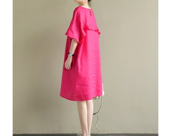 a159adc4d2a Free Style Linen Dress with Ruffle Sleeves Lovely Ruffled Shirtdress   Tunic  20 Colors  RAMIES