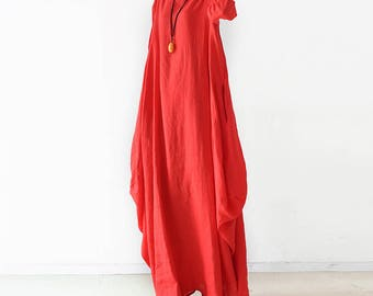 f1a44ce034 Free Style Pure Linen Long Dress  Asian Style Cocoon Shape  Red Pockets 21  Colors  RAMIES
