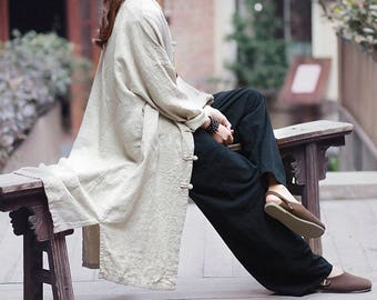 033c3b0b1 Asian Style Linen Women's Long Winter Coat with Stand-up   Etsy