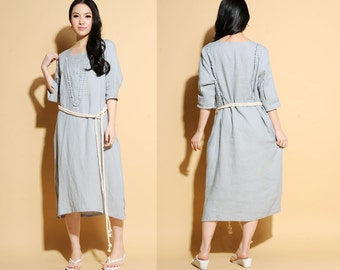 ba51e85514d Ethnic Style Linen Long Dress with Ruffles 22 Colors  RAMIES
