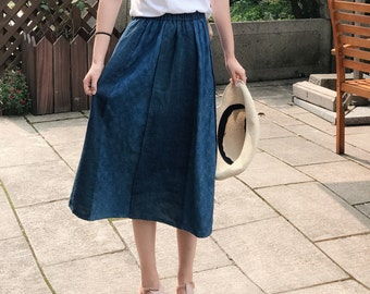 Lovely Embroidered/Madder-dyed/ Plant-dyed indigo Blue Elastic Waist Cotton Skirt/Any Size/2 Colors/RAMIES