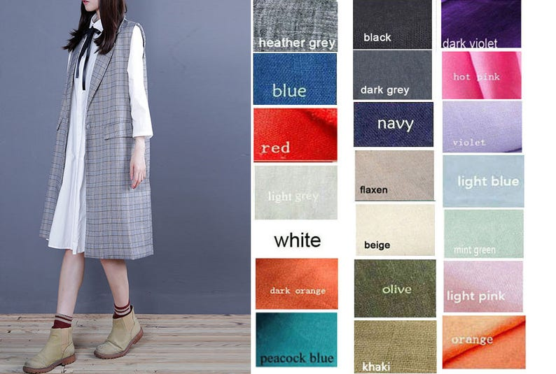Women/'s Pleated Linen Shirt Dress with Black Ribbon Free Style 21  Colors Any SizeRAMIES