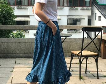Lovely Embroidered/Ruffled/ Plant-dyed indigo Blue Elastic Waist Cotton Skirt/ 2Colors/Any Size/RAMIES
