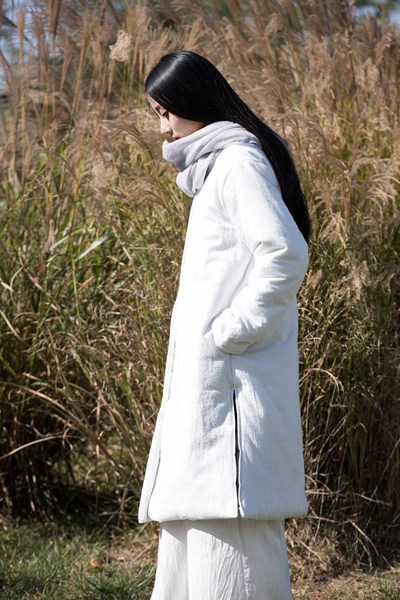 8a6dce7ff Asian Style Linen Women's Long Winter Coat with Stand-up Collar/White/  Cotton Padded Jacket/ 9 Colors /ANY SIZE/ RAMIES