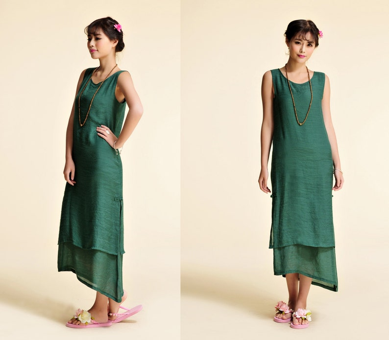 Chinese Lotus/ Elegant Two Layered Silk Sleeveless Dress with Handmade  buttons/ 21 Colors/ RAMIES