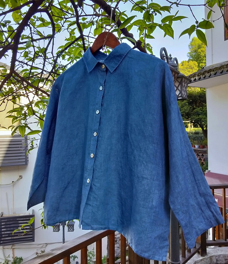 Wearing blue sunshine!VegetationDyeing plant-dyed indigo Linen Shirt with 34 Sleeves A-line style with Stitches4 ColorsRAMIES