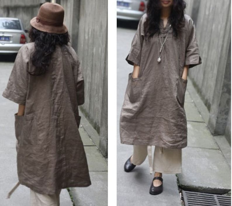Ethnic Chinese Style Linen Long Dress 27 Colors RAMIES