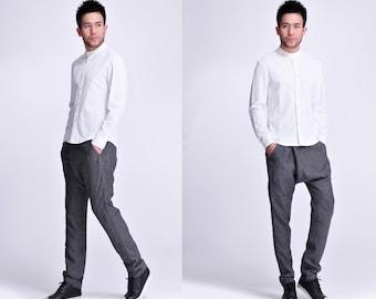 Fresh Magnolia/ Asian Style  Men's linen Shirt with  Peek-a boo Buttons/ 15 Colors / RAMIES