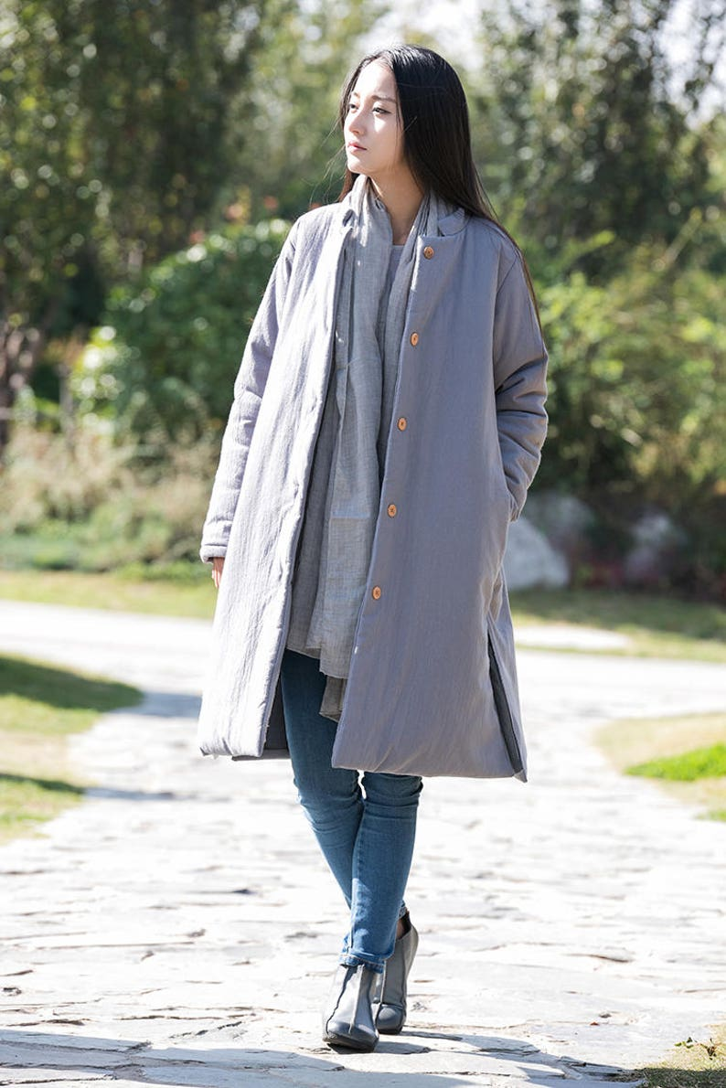 d573d5ea1 Asian Style Linen Women's Long Winter Coat with Stand-up Collar/Light Grey/  Cotton Padded Jacket/ 9 Colors /ANY SIZE/ RAMIES