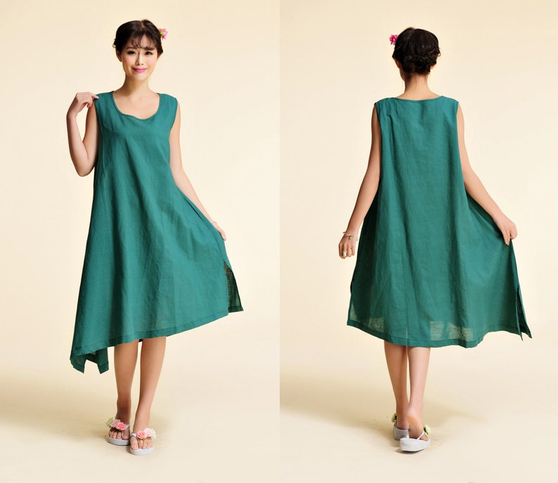 Delphimium Linen  Sleeveless Long Dress with Asymmetrical Hems  29 Colors ANY SIZERAMIES