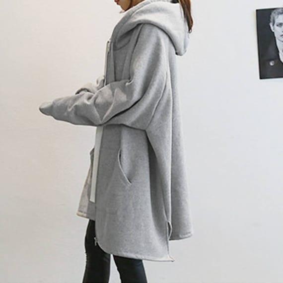 RAMIES Free Style Zipper Cotton Hoodie Long JacketCoat Cape11 Colors