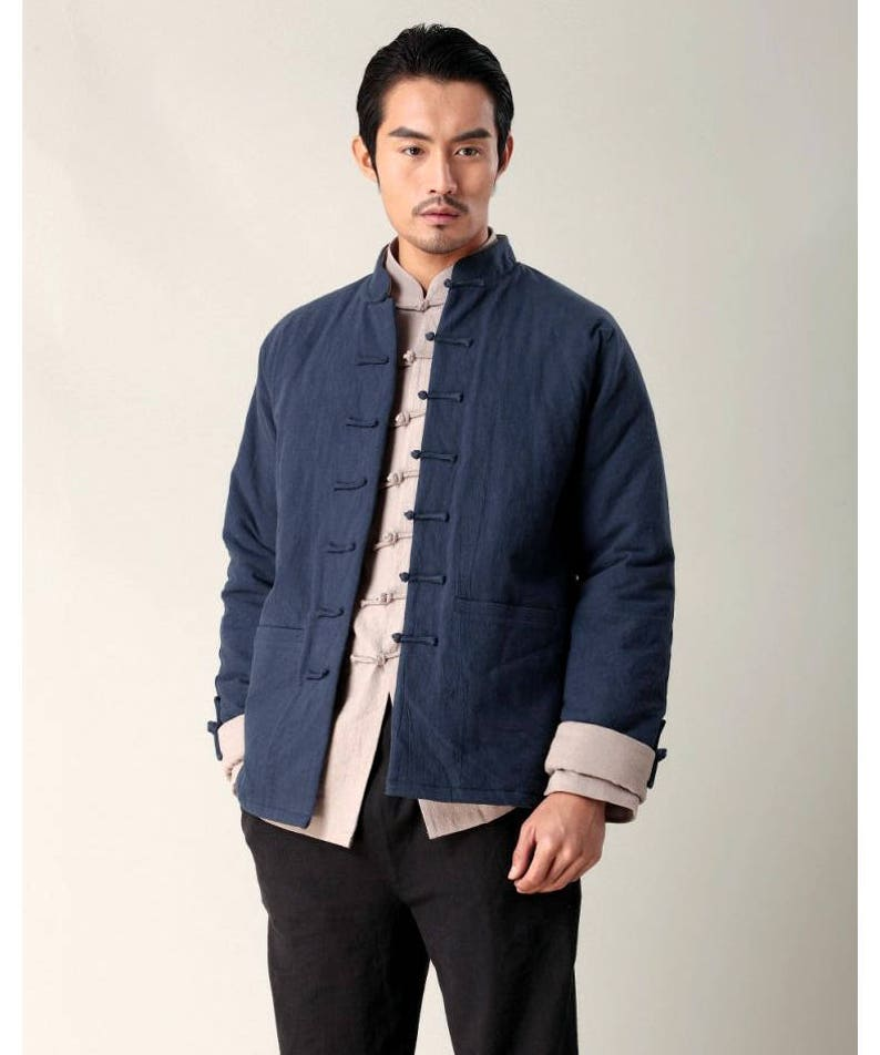 858110daa Ethnic Style/ Linen Men's Winter Coat with Cotton Padded Lining/Stand-up  Collar/ Navy/ 14 Colors/ RAMIES