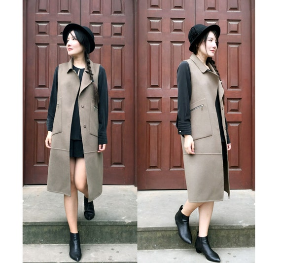 ef64f7bfe5e Military Style Winter/Duster/ Vest Coat/ Double Faced | Etsy